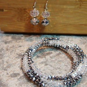 Crystal Stretch Bracelet & Earrings Set Beaded